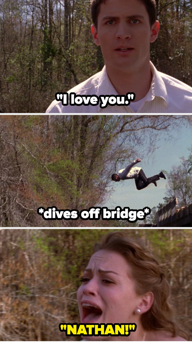 Nathan tells Haley he loves her, then dives off bridge into the water