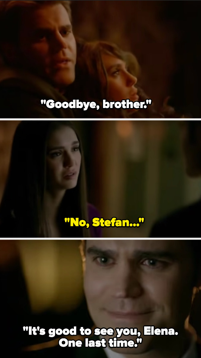 """Holding Katherine up, Stefan says, """"Goodbye, brother."""" Later, he tells Elena about it, saying it was good to see her one last time"""
