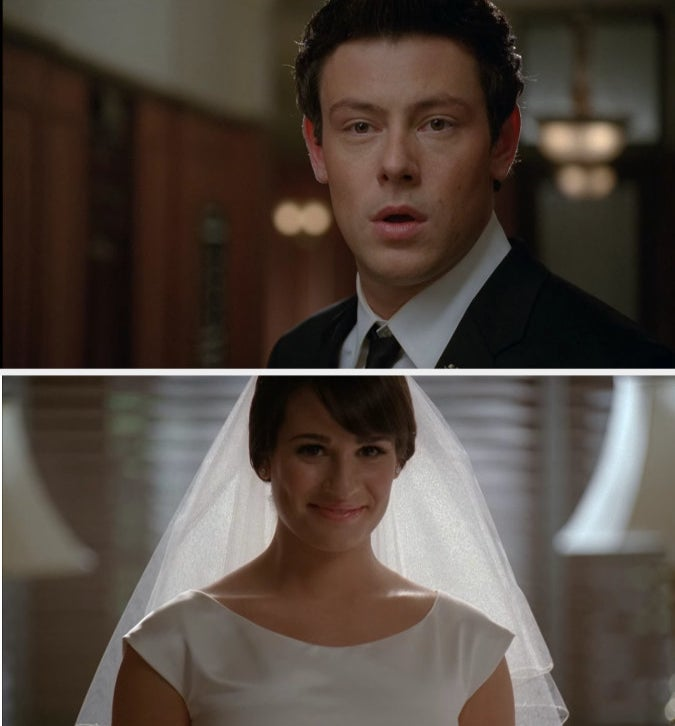"""Finn and Rachel from """"Glee"""" about to get married in a church"""