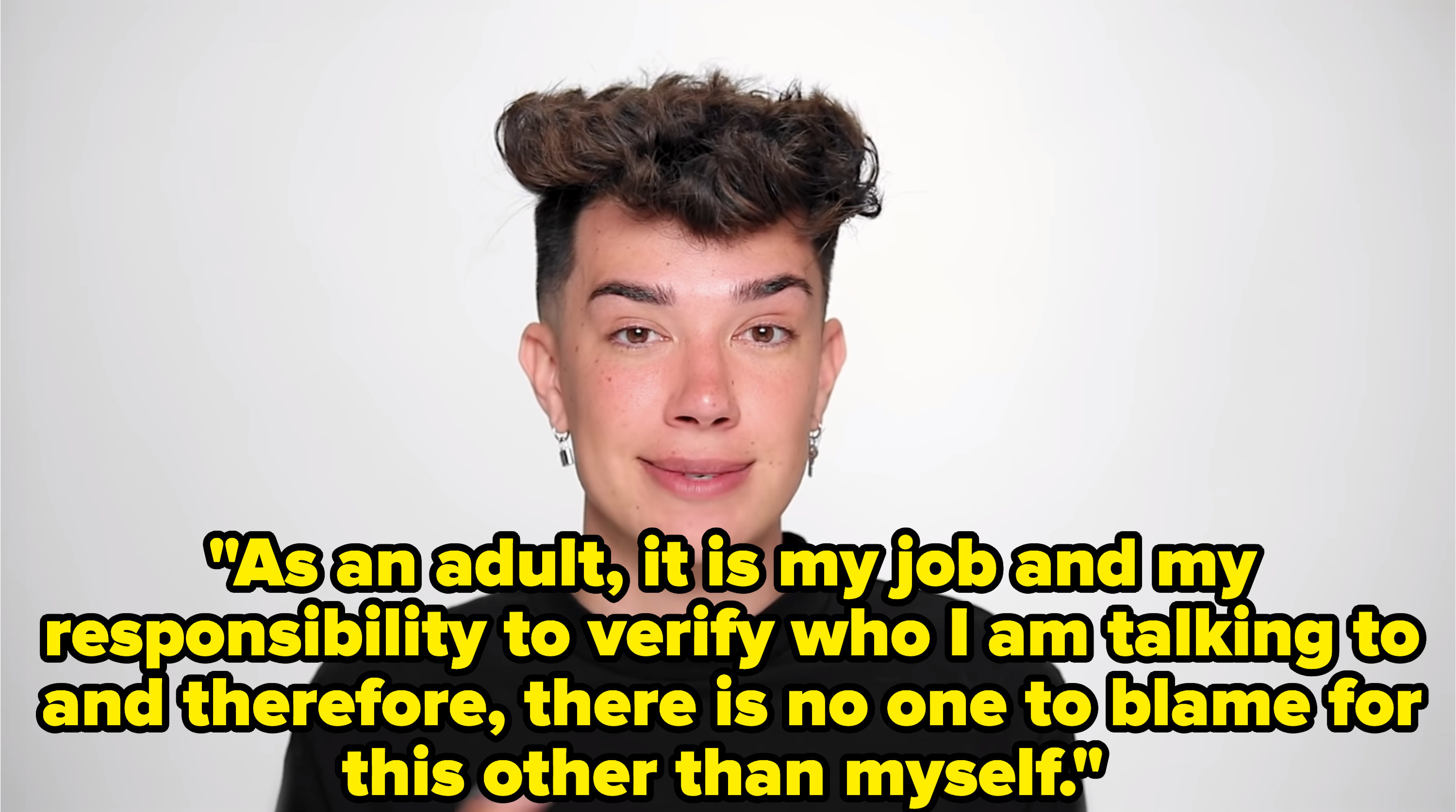 James Charles apologizing in his latest video
