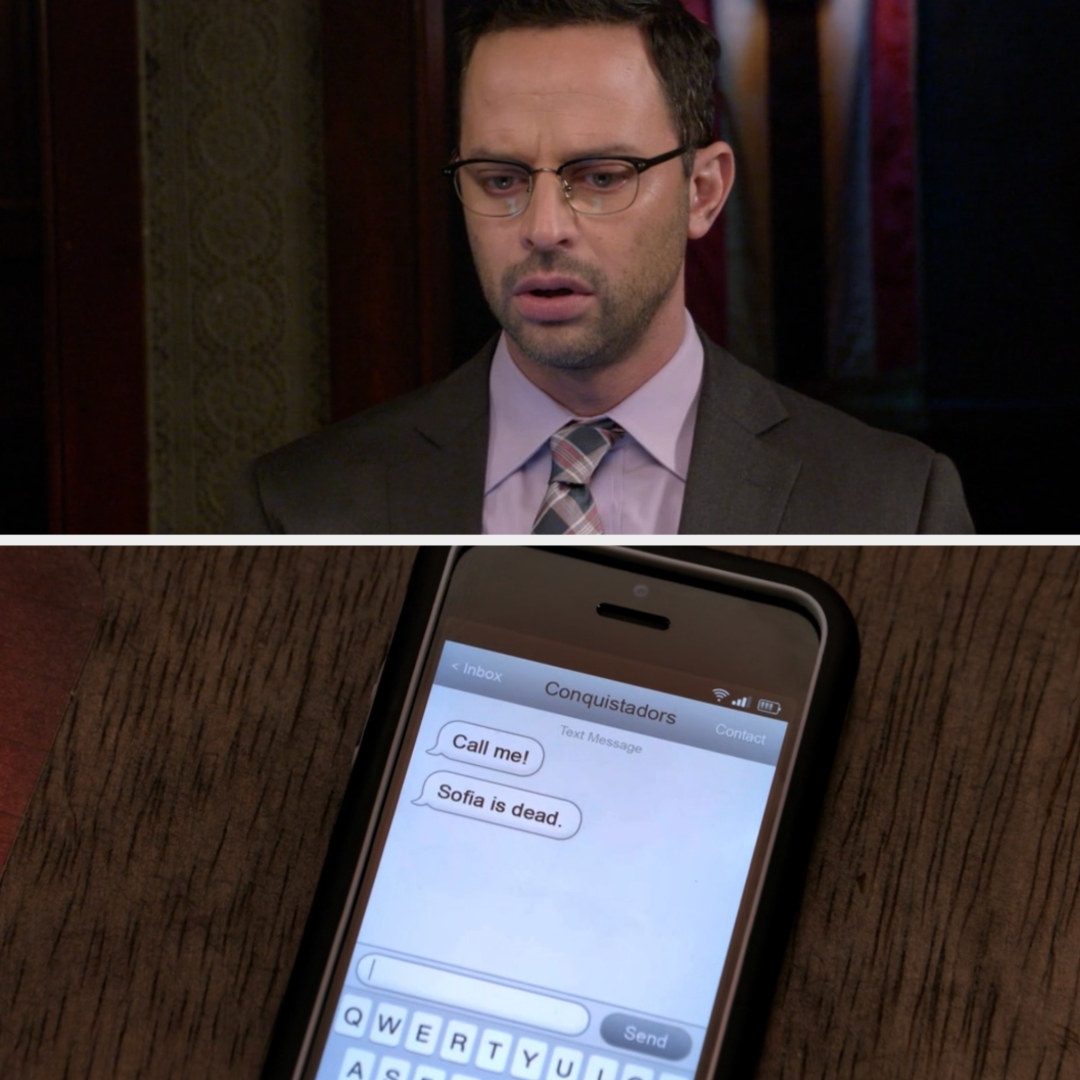 Ruxin looks shocked at a text saying Sofia is dead