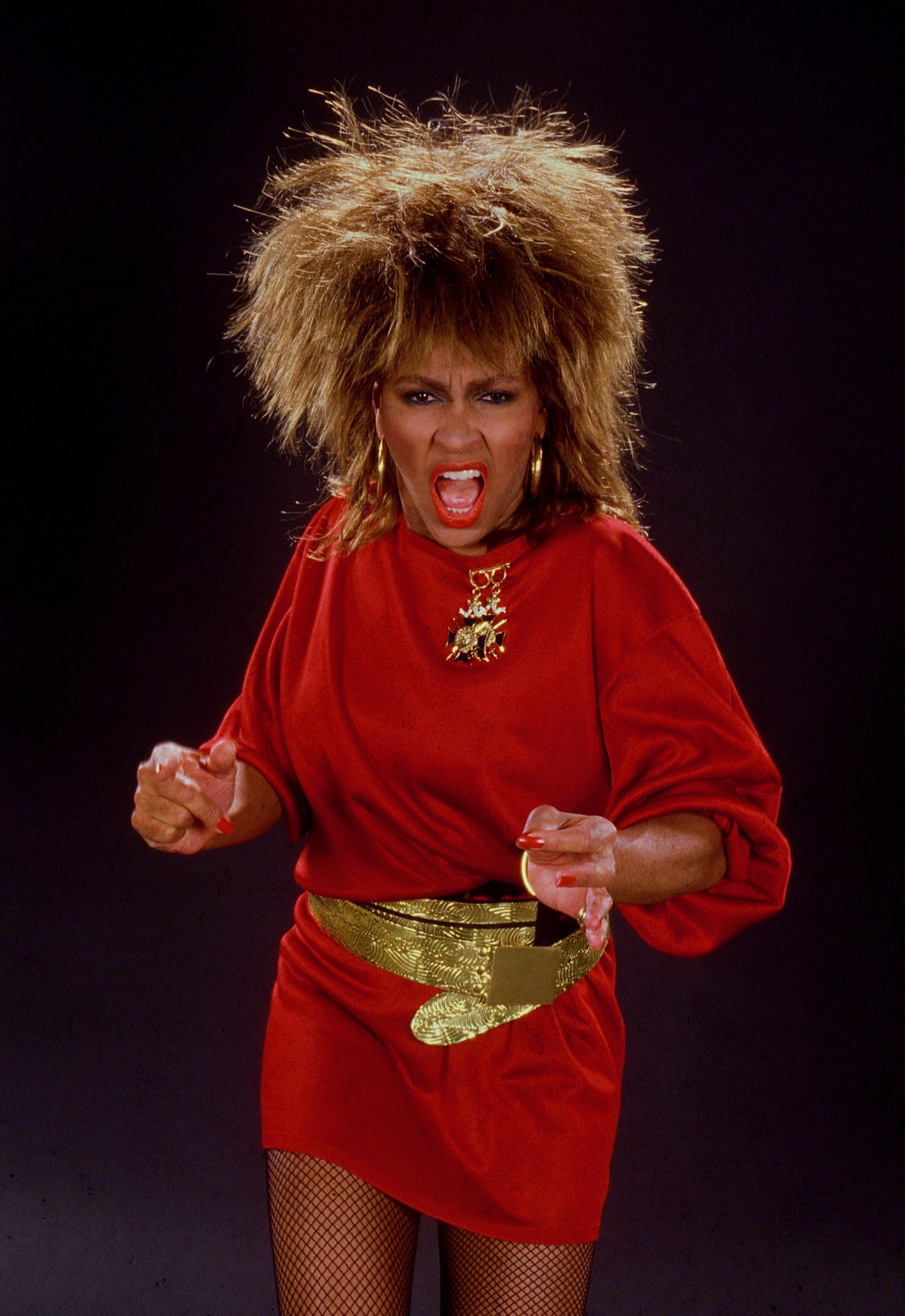 Tina Turner in red dress looking fierce