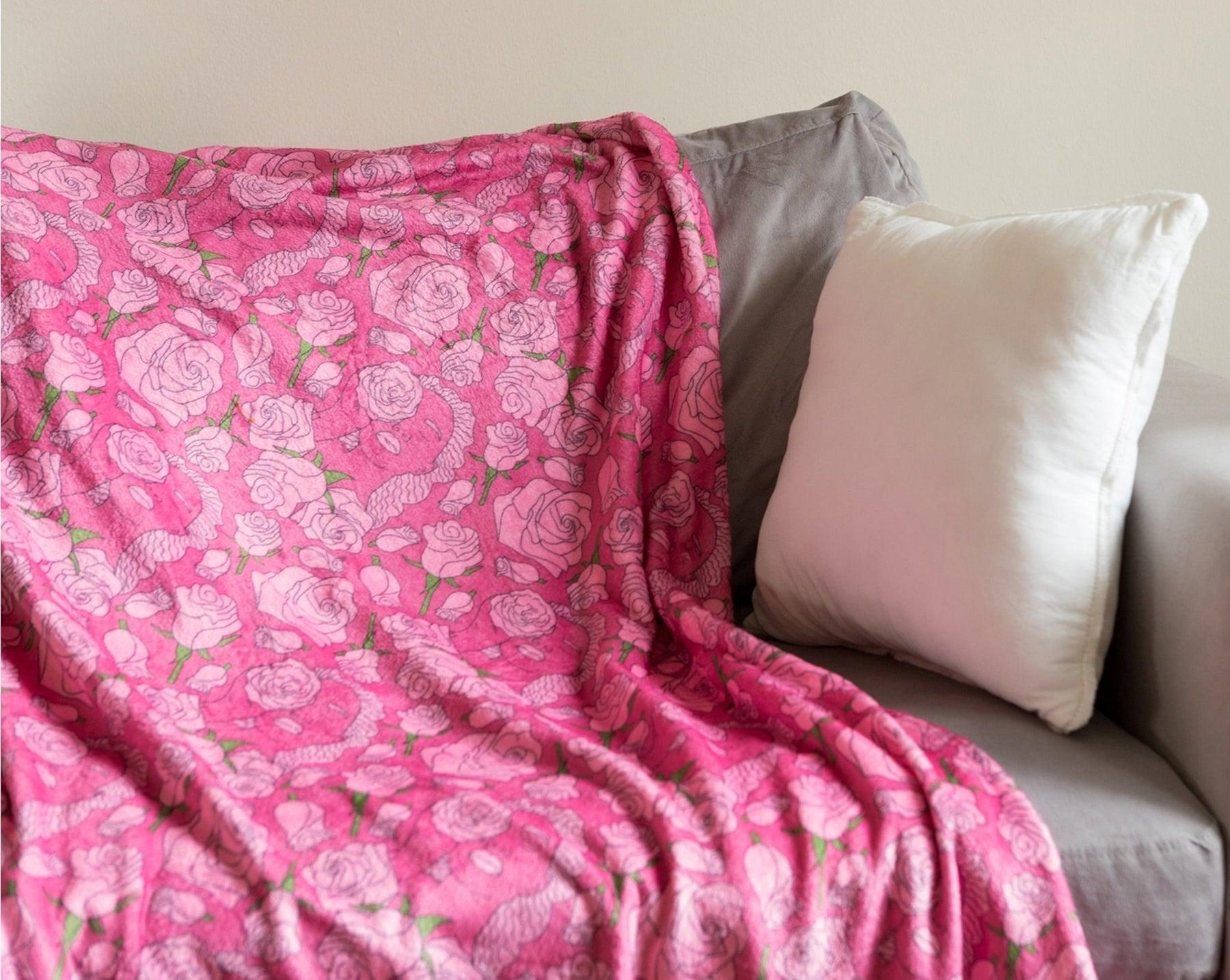 the pink floral throw blanket