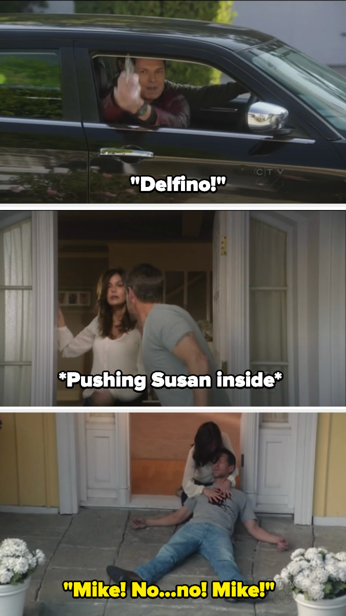 "A loan shark shouts ""Delfino!"" aiming a gun, and Mike pushes Susan inside then is shot. Susan cries, holding his body"