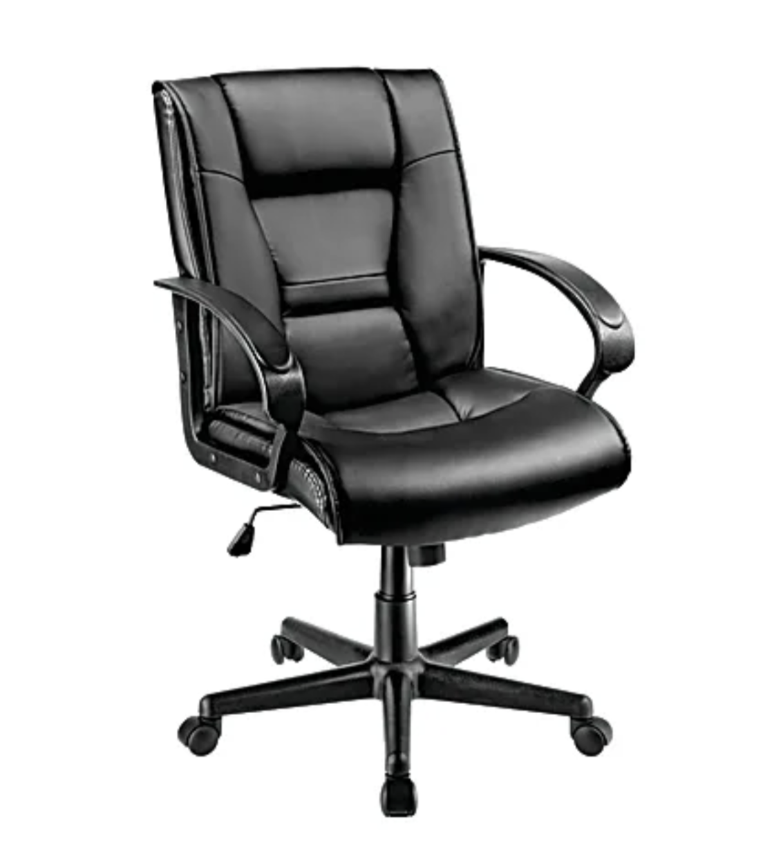 A black swivel leather chair with arm rests and height adjustment
