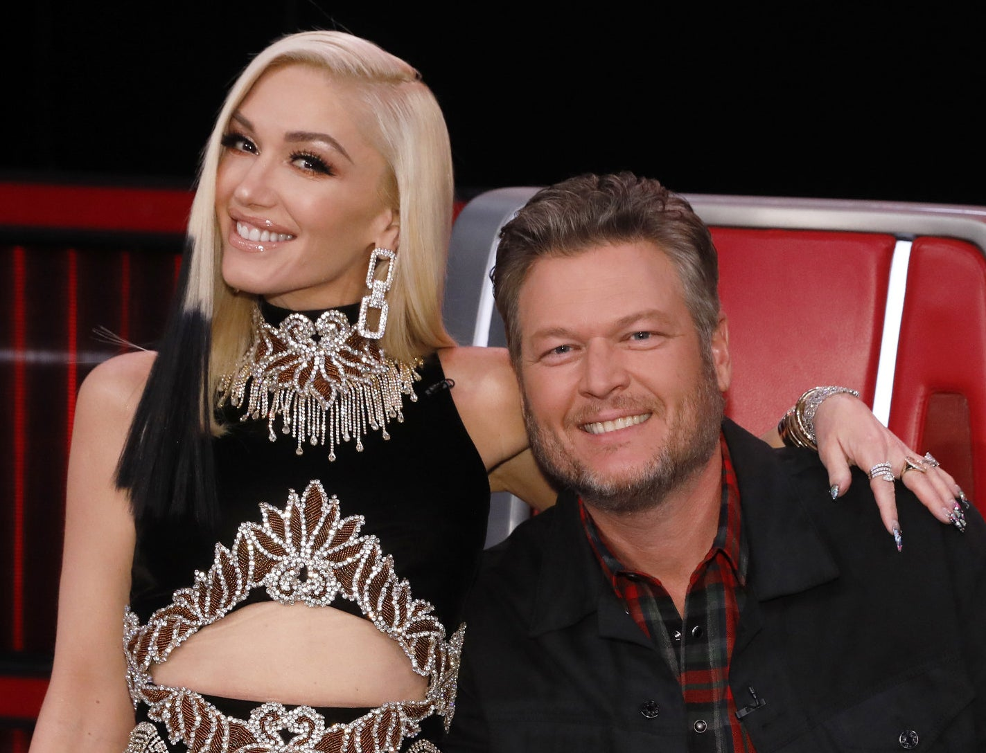 Gwen with Blake Sheldon on the set of The Voice