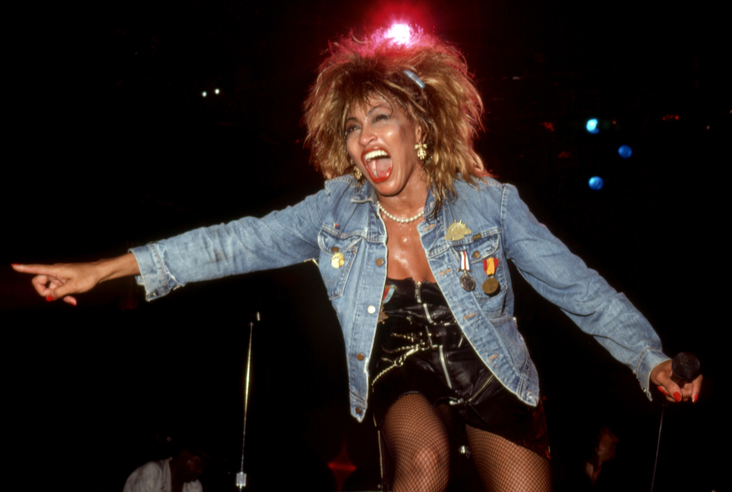 "Tina Turner performing on ""Private Dancer"" tour"