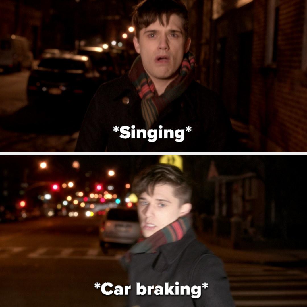 Kyle sings while walking, then walks into headlights as a car brakes