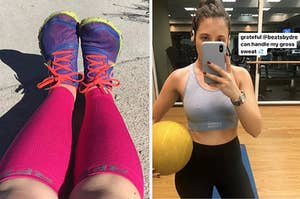 on left, reviewer wears pink calf compression sleeves with sneakers. on right, BuzzFeed editor Emma McAnaw wears Powerbeats wireless headphones at gym