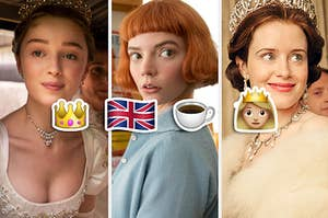 the crown, british flag, tea cup, and queen emoji beside characters from bridgerton, the queen's gambit, and the crown