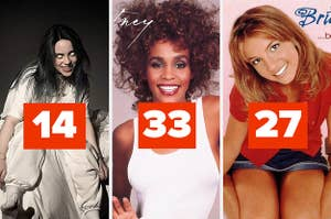 "Billie Eilish's album labeled ""14,"" Whitney Houston's album labeled ""33,"" and Britney Spears' album labeled ""27"""