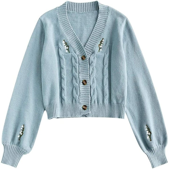 The blue embroidered button up cardigan