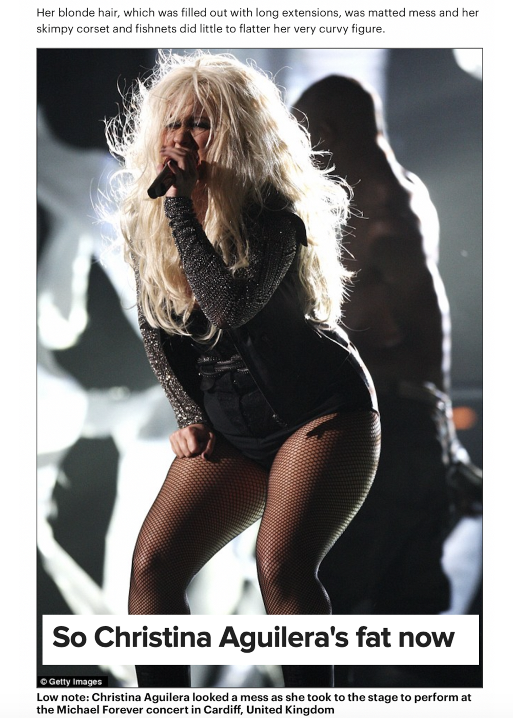 An article saying Christina Aguilera is wearing clothes unflattering to her very curvy figure, and