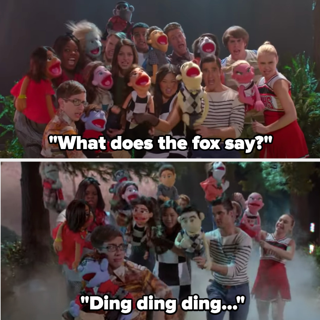 "The Glee club singing ""The Fox"" with puppets and animal ears and noses"