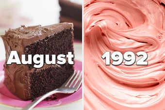 Chocolate cake with the month August on it and strawberry frosting with the year 1992 on it