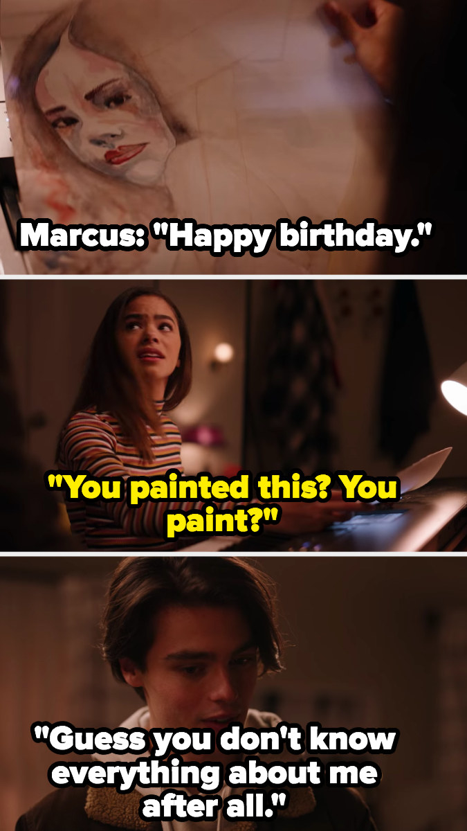 """Ginny: """"You paint?"""" Marcus: """"Guess you don't know everything about me after all"""""""