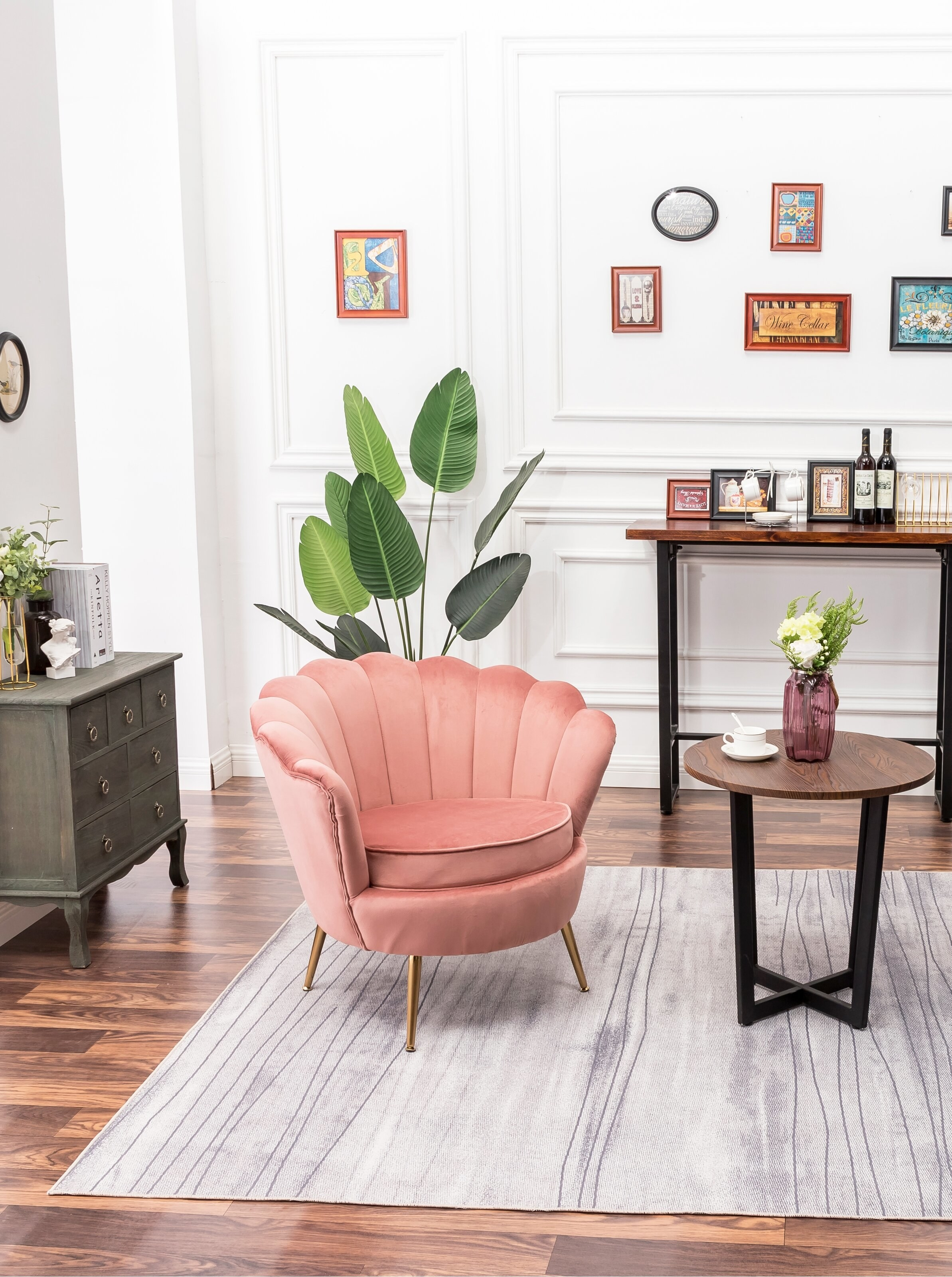 The chair in pink in a living room setup