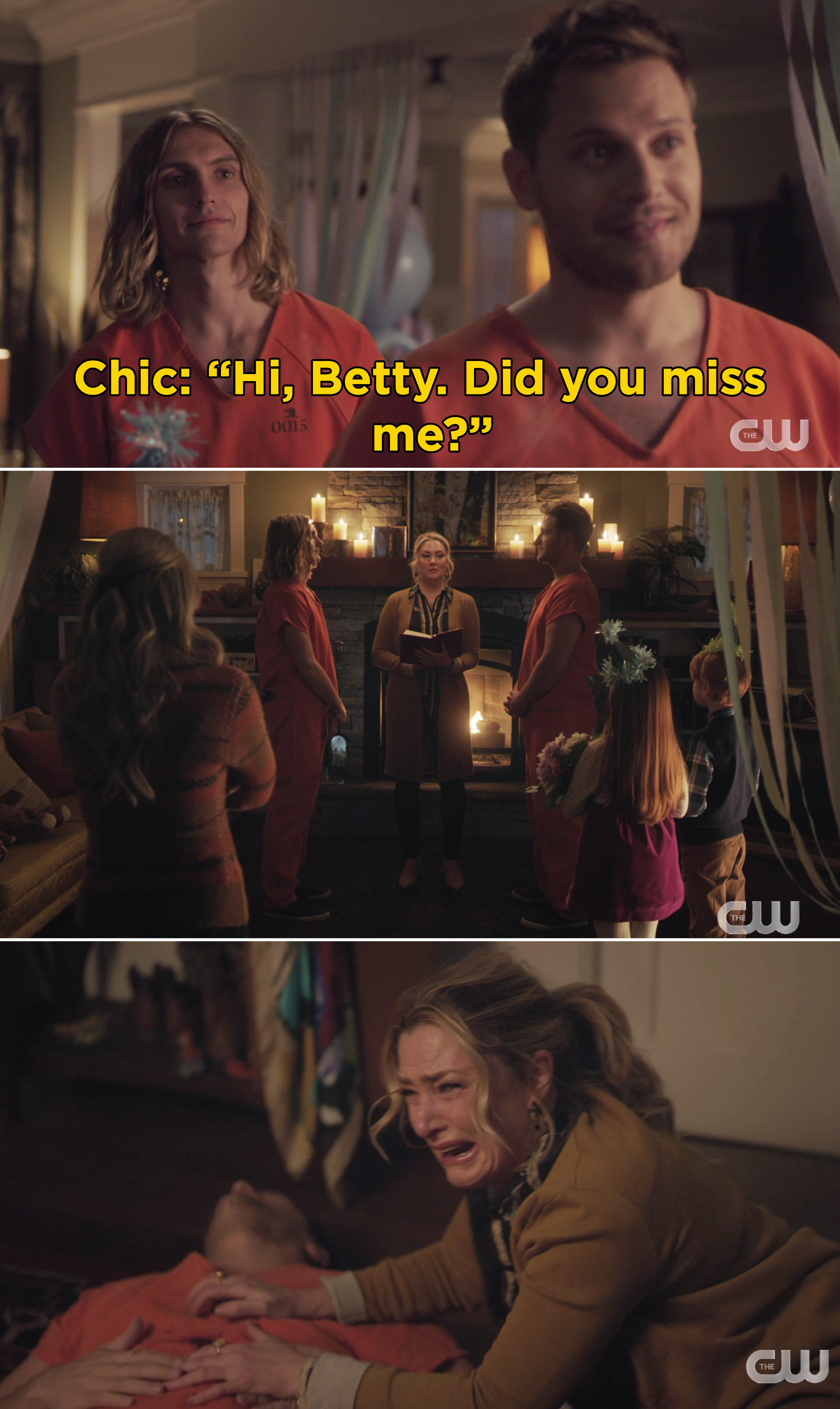 """Chic saying, """"Hi, Betty. Did you miss me?"""""""