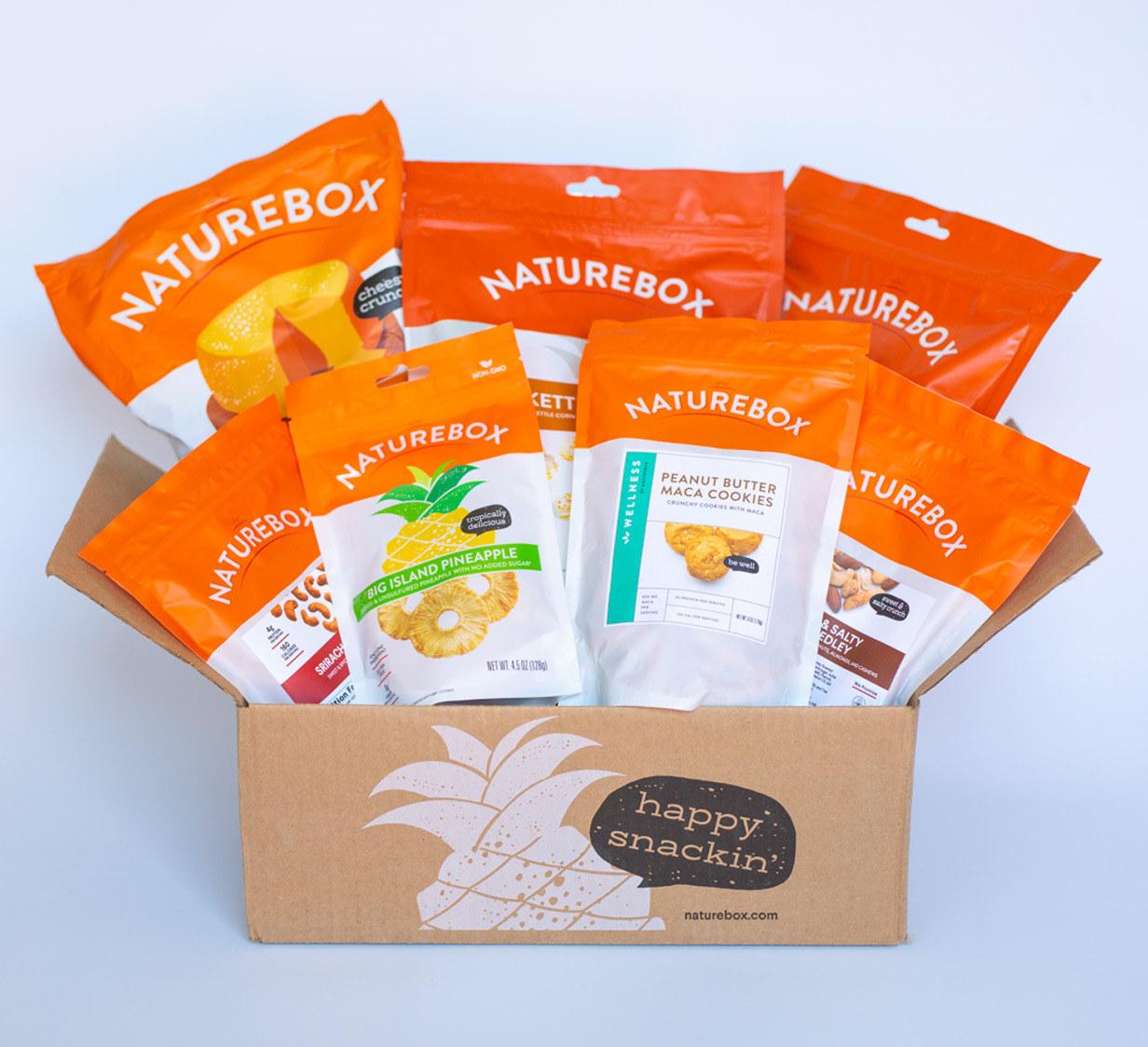 box full of packaged Naturebox snacks
