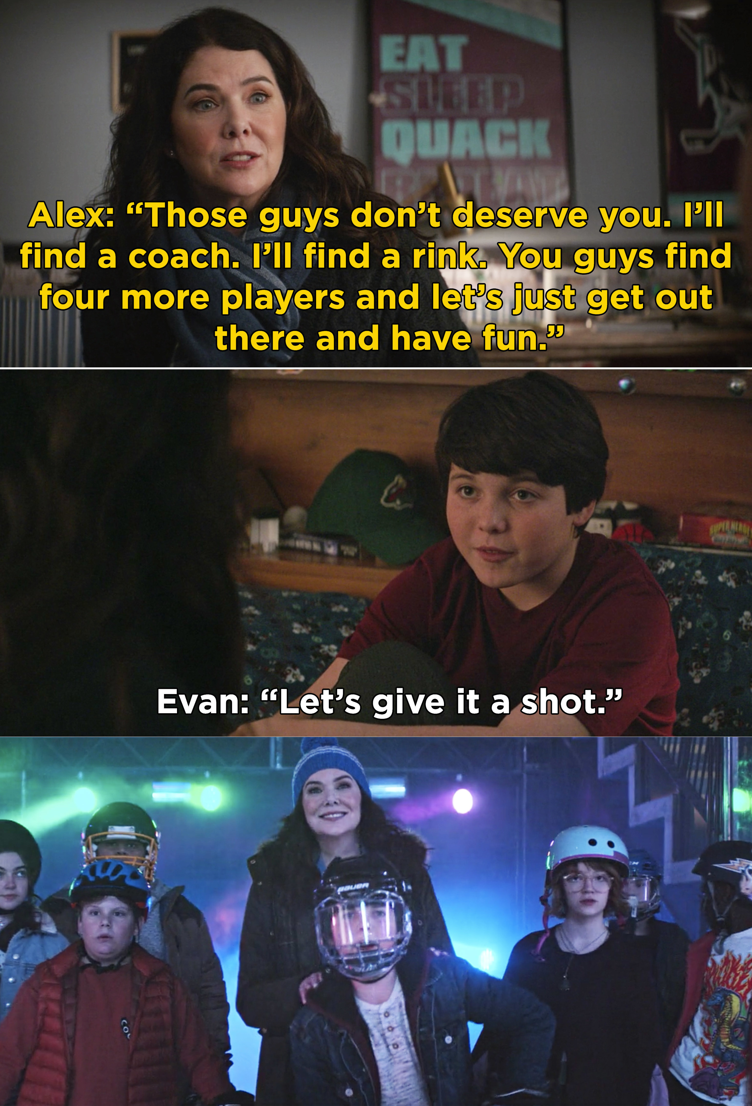 """Alex telling Evan to find some players for a team and """"let's just get out there and have fun"""""""