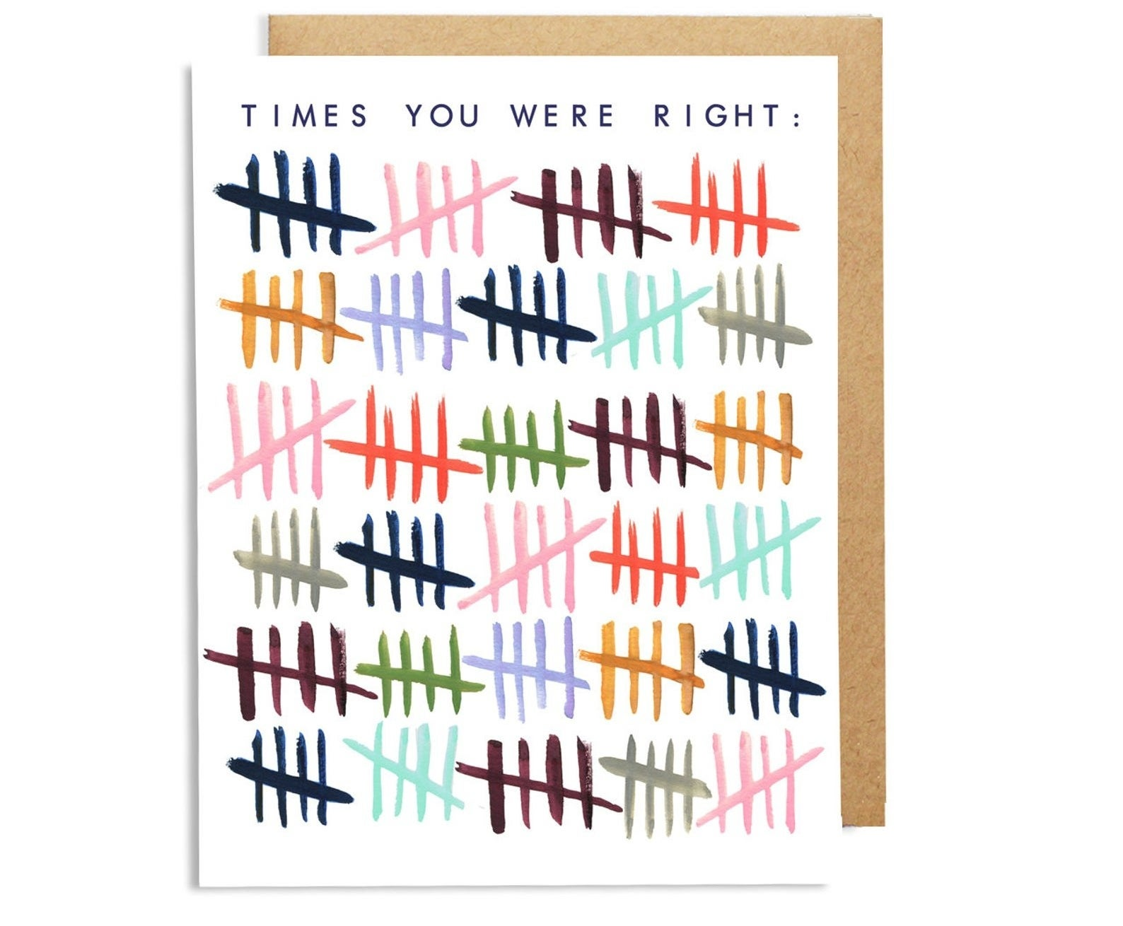 "the card that reads ""times you were right"" in black font at the top with an illustration of different colored tallies"