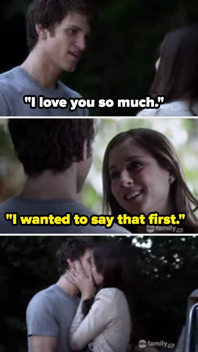 """Toby: """"I love you so much."""" Spencer: """"I wanted to say that first."""""""