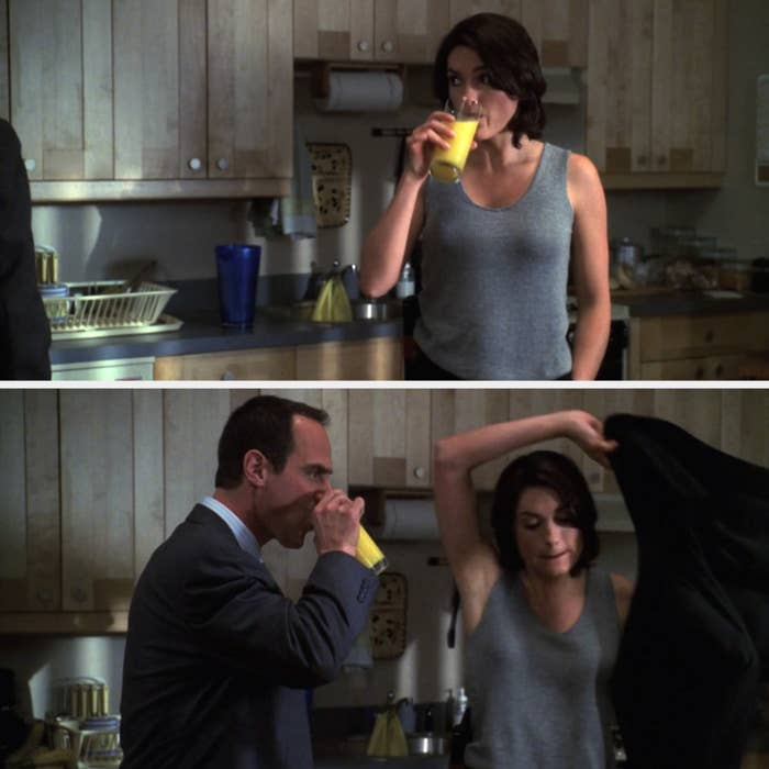 Stabler sipping from the same cup of orange juice as Benson
