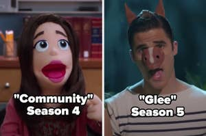 Community Season 4 with the puppet Annie and Glee Season 5 with Blaine singing The Fox