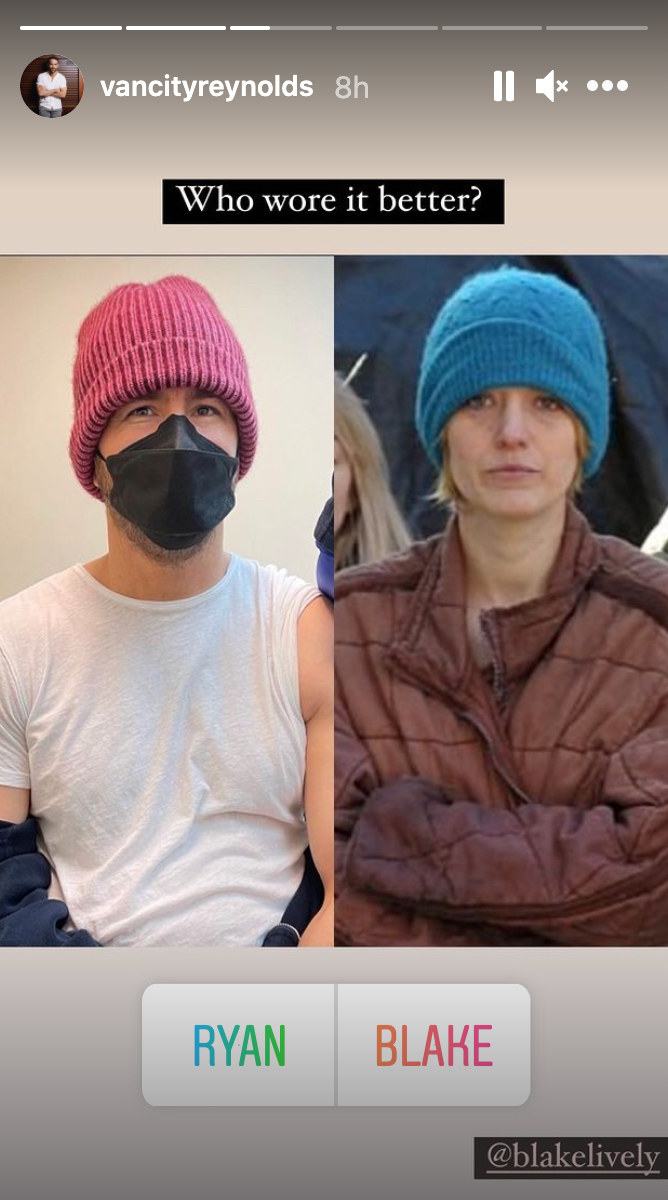 A poll of whether Reynolds or Lively wore a knit hat better