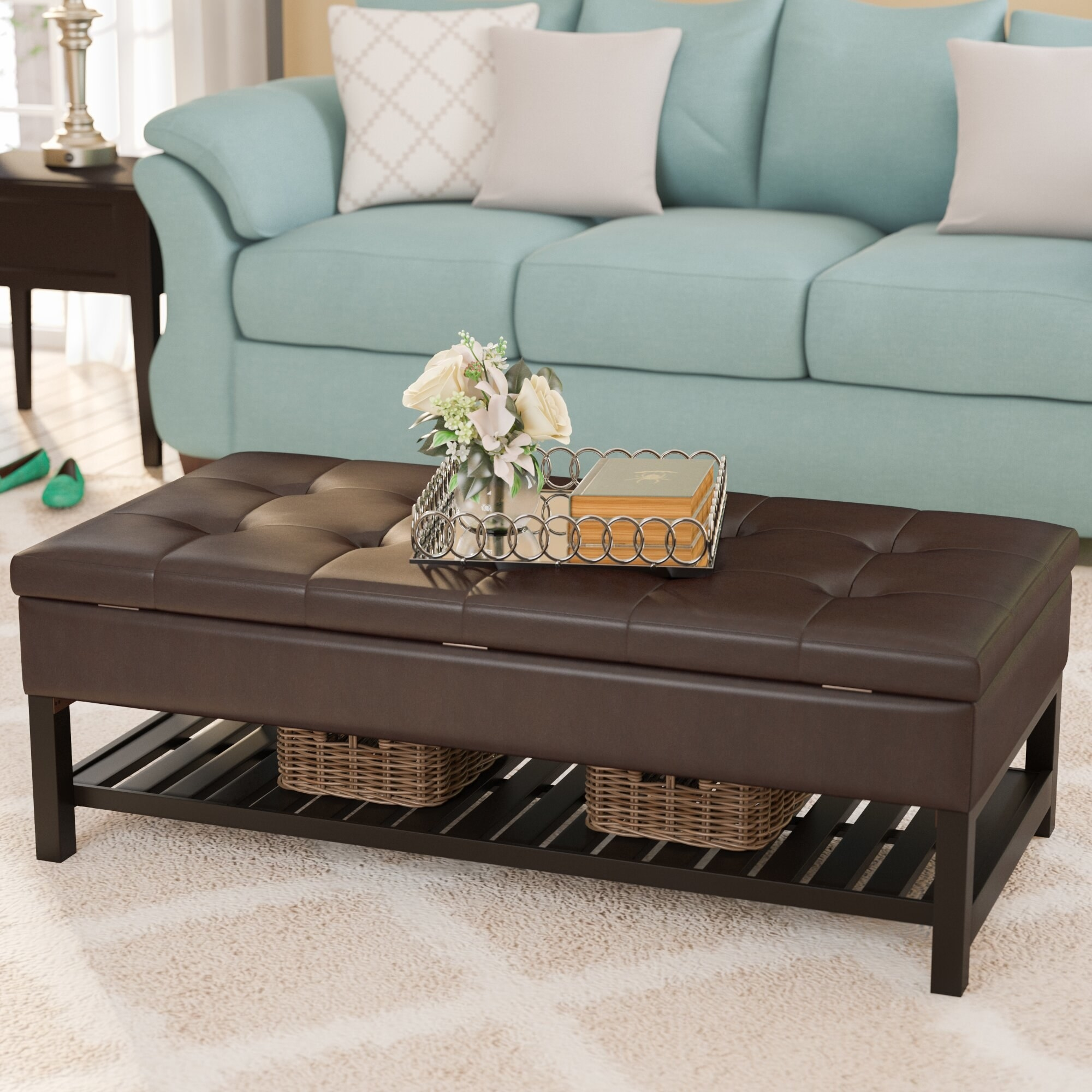 The storage bench being used as a coffee table