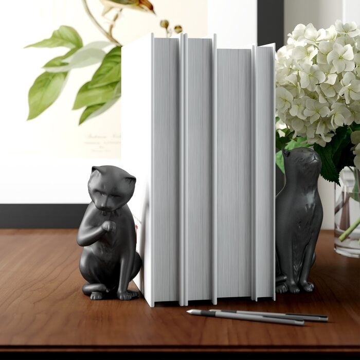 The cat bookends holding up four books