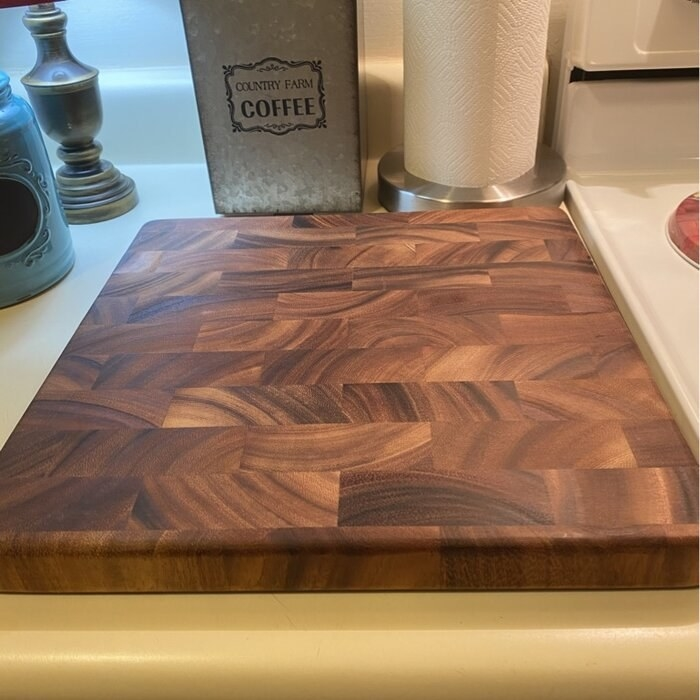 a reviewer's cutting board on a countertop
