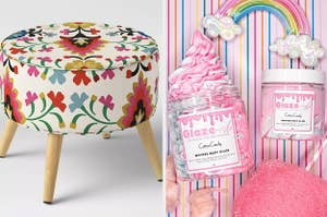 to the left: a floral stool, to the right: cotton candy body butter