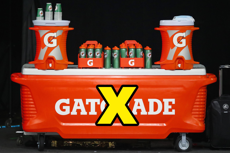 An X over a Gatorade cooler