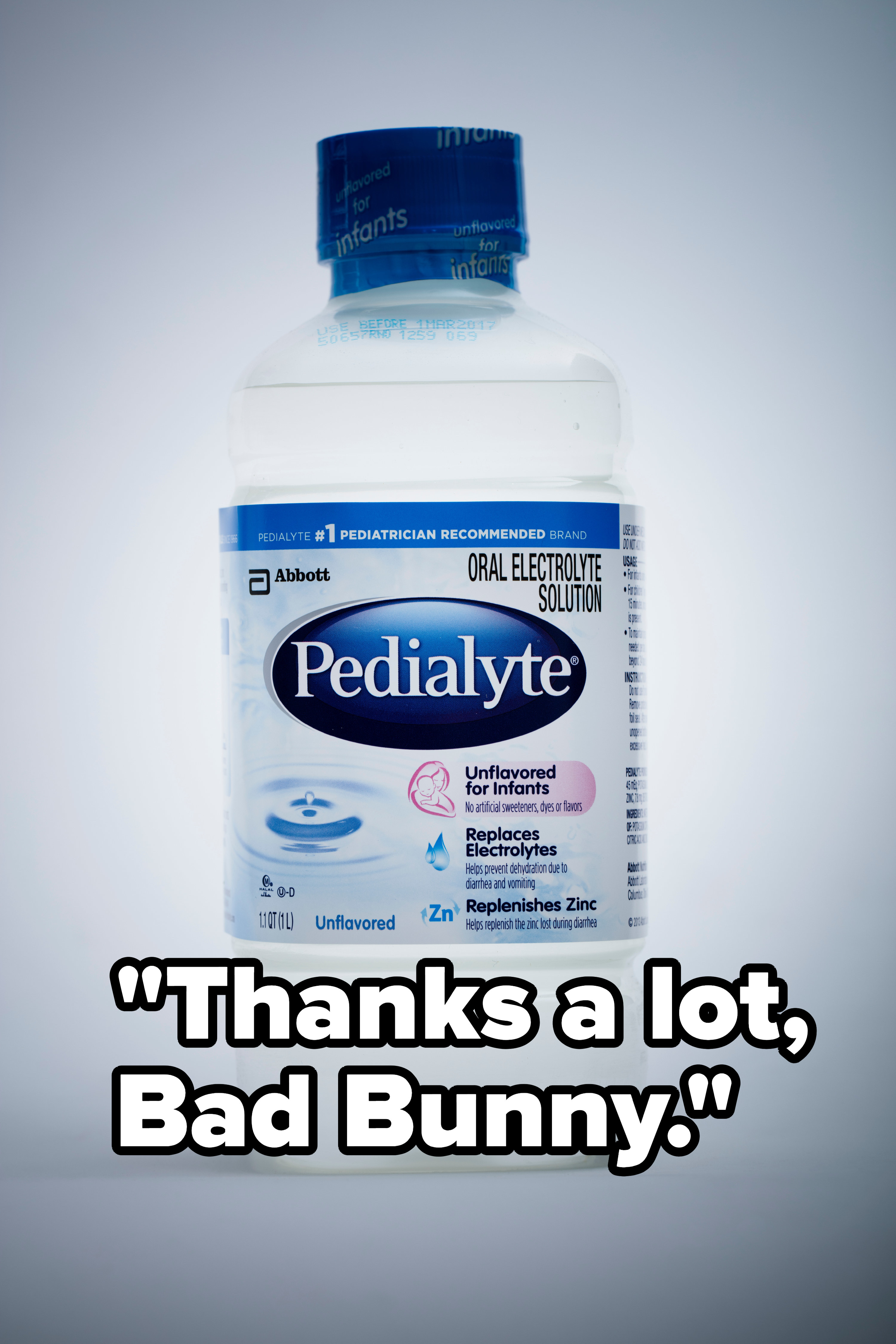 """A bottle of Pedialyte with the caption """"Thanks a lot, Bad Bunny"""""""