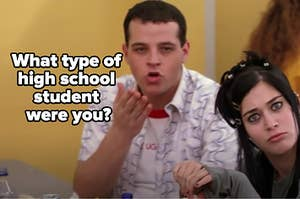 """Damian and Janis are making a funny face with a label that reads: """"What type of high school student were you?"""""""