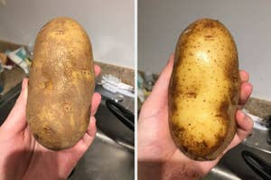 A potato before and after cleaning with a brush