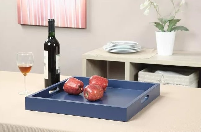 The blue serving tray