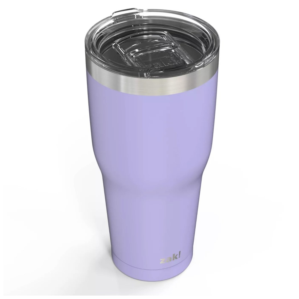 A purple stainless steel drink tumbler