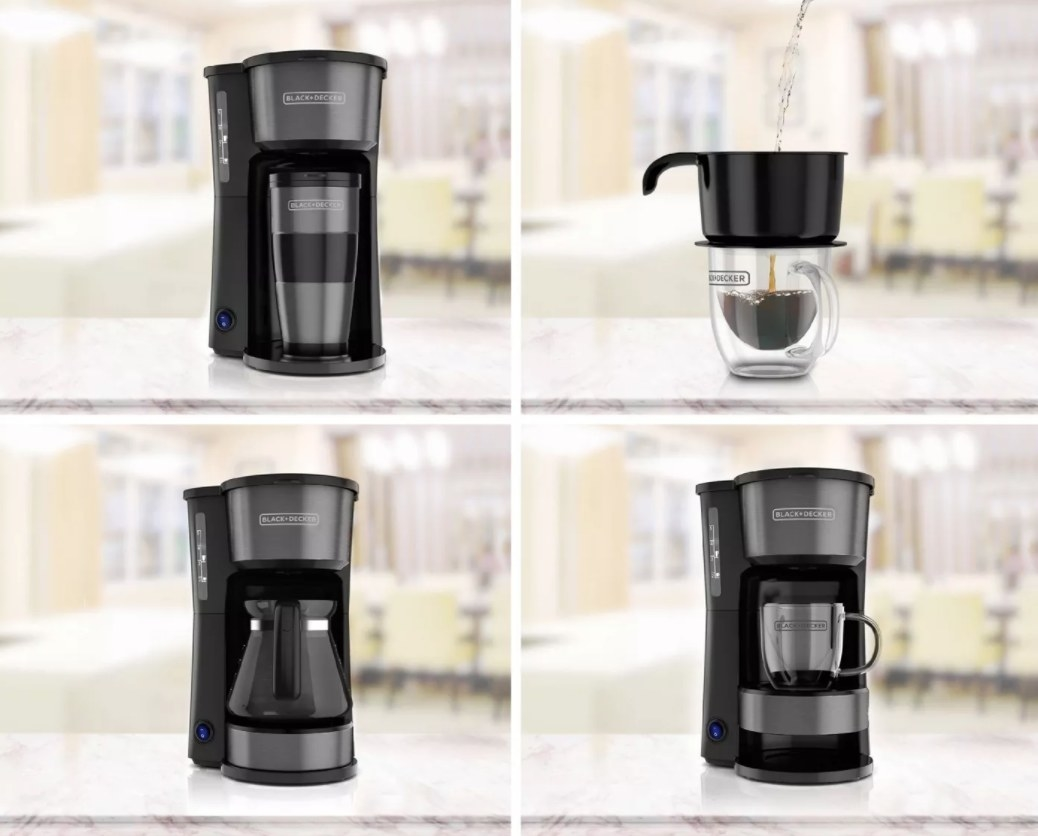 A coffee maker with four options for use