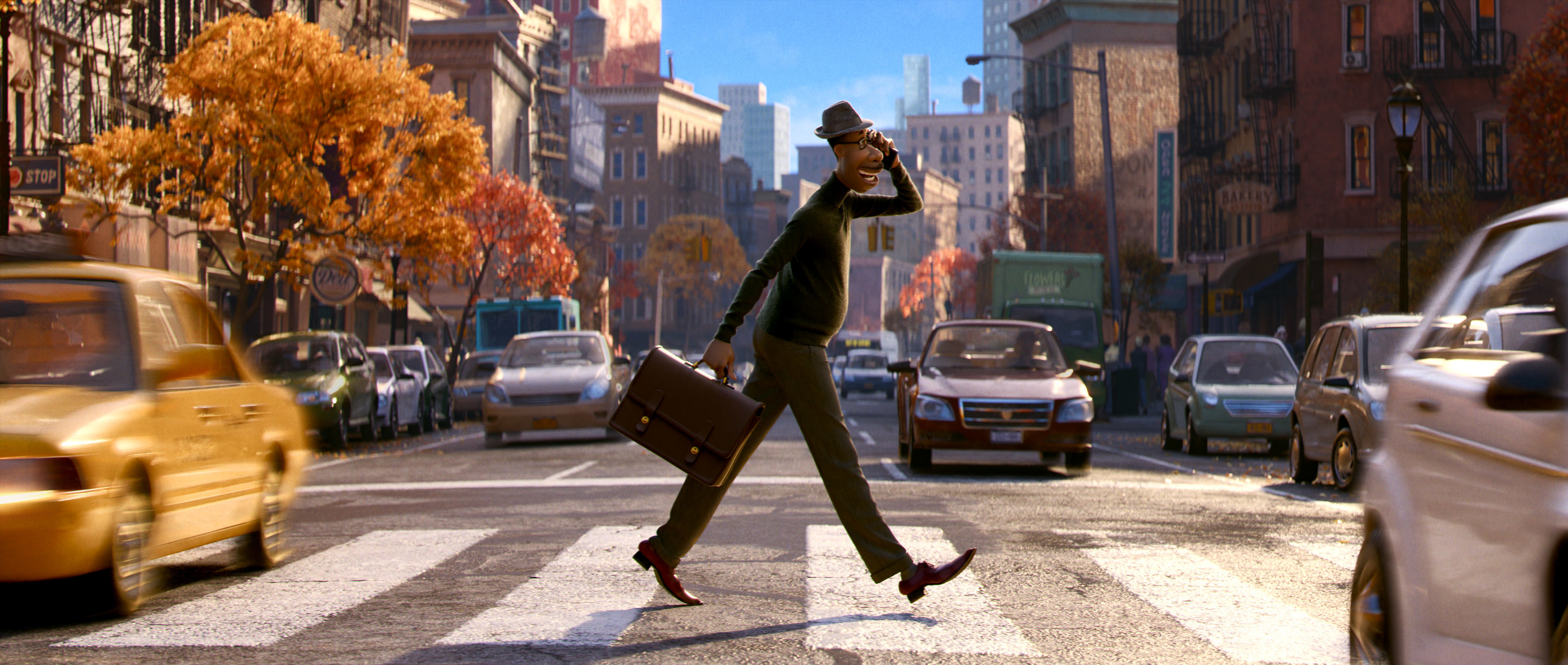 A computer-animated Black man crosses a street carrying a briefcase and talking on a phone