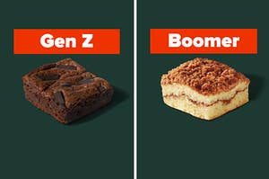 """A brownie is on the left labeled, """"Gen Z"""" with coffee cake on the right labeled, """"Boomer"""""""
