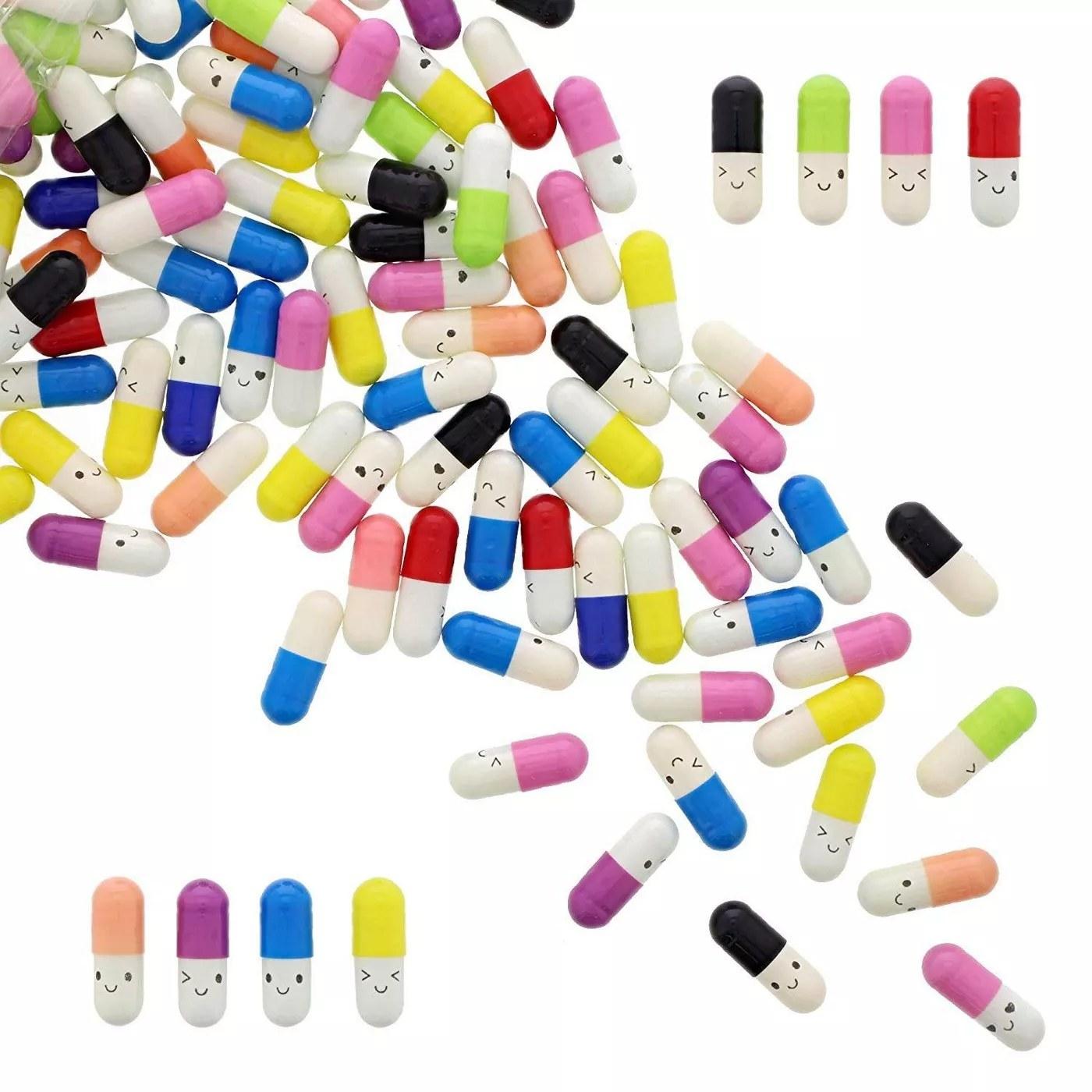 The multi-colored letter capsules