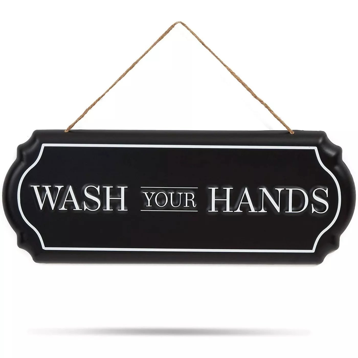 "The black and white ""Wash your hands"" sign"