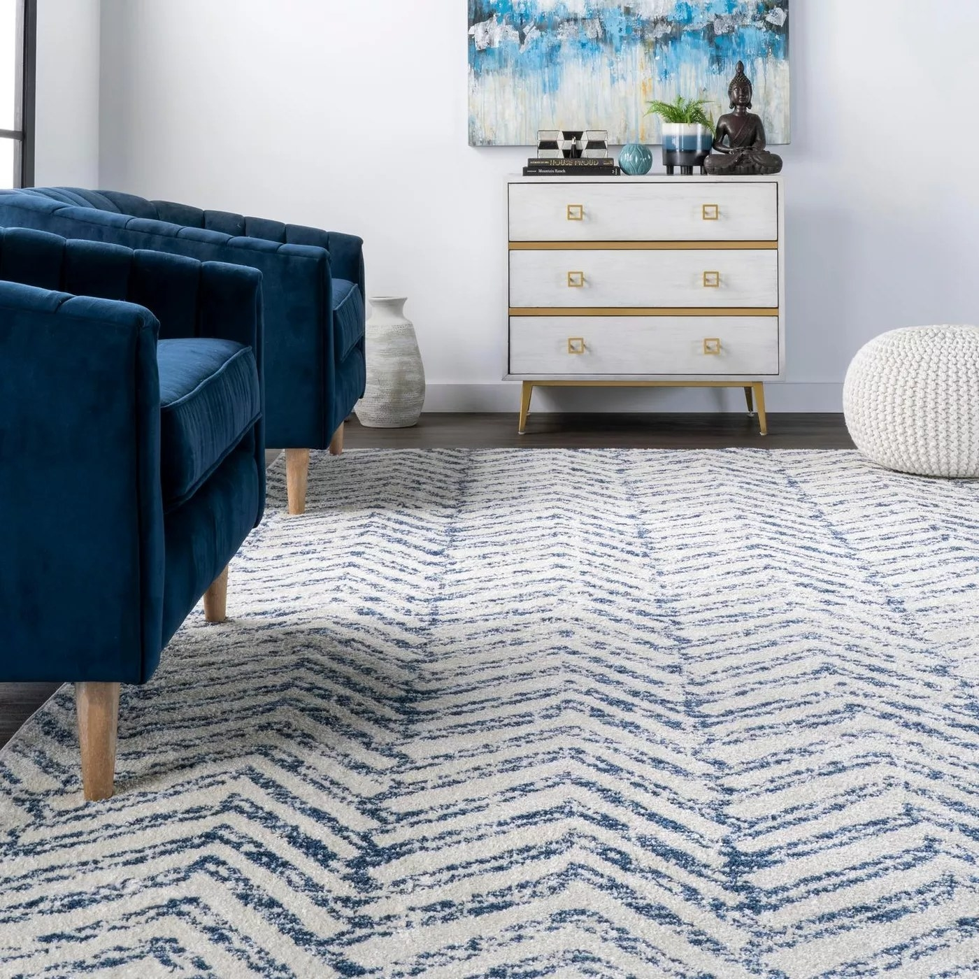 The blue and white rug