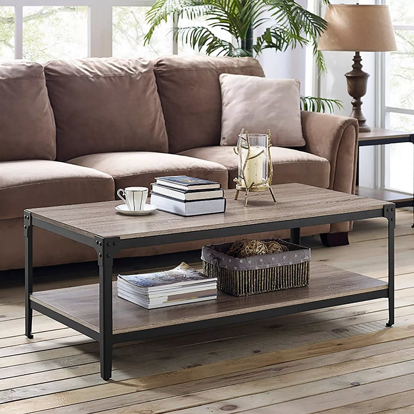 The driftwood and iron coffee table