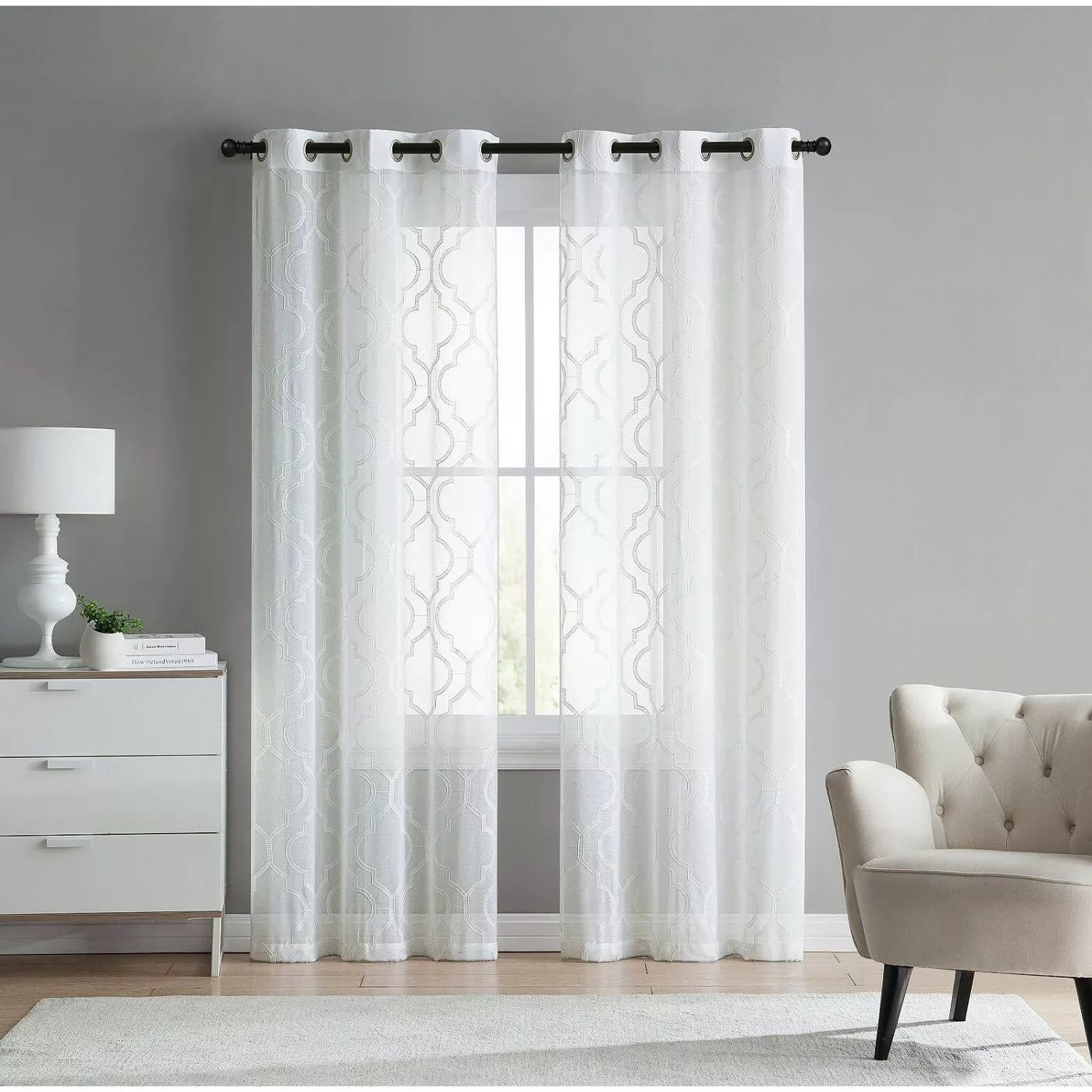 The curtains in white