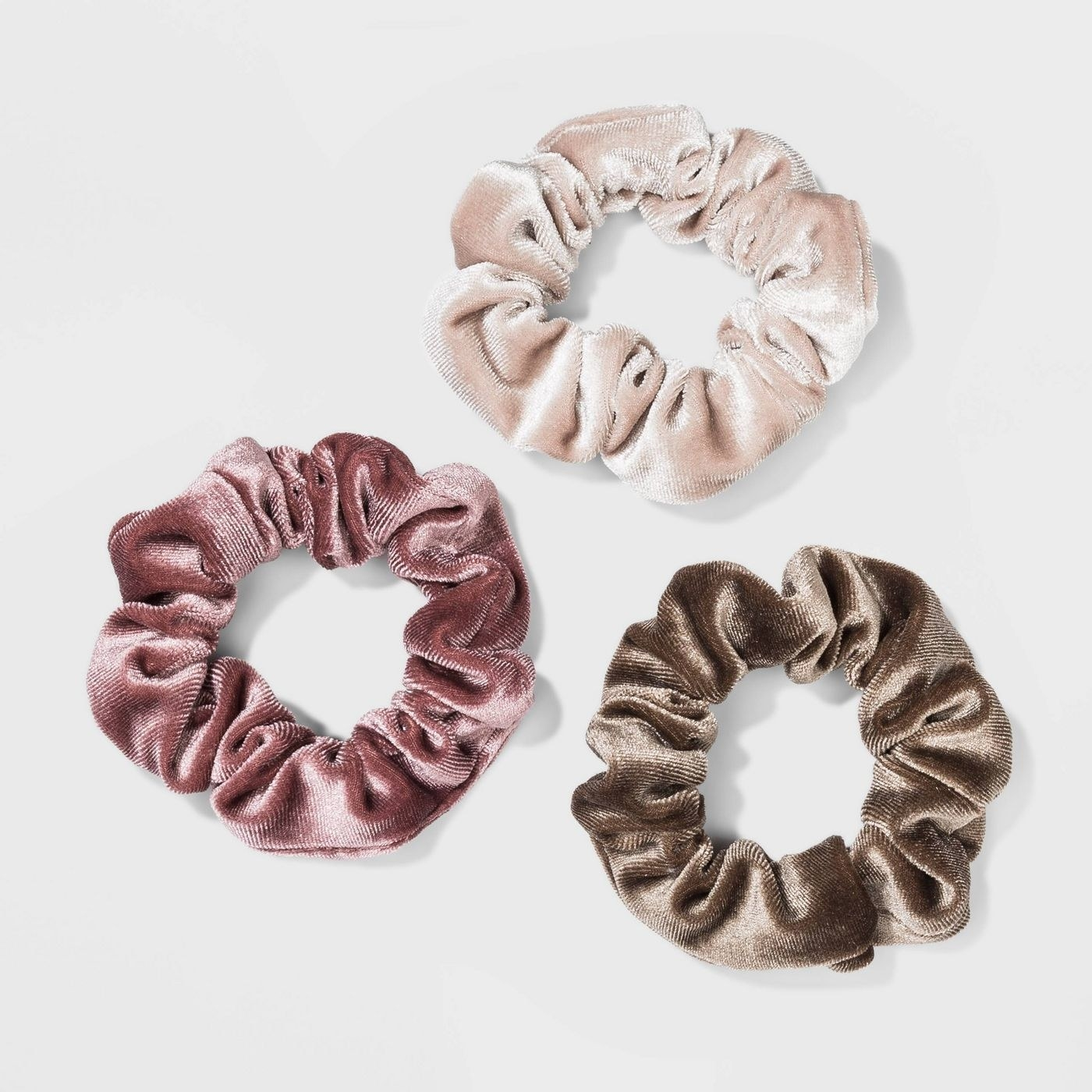 Brown, mauve and tan scrunchies