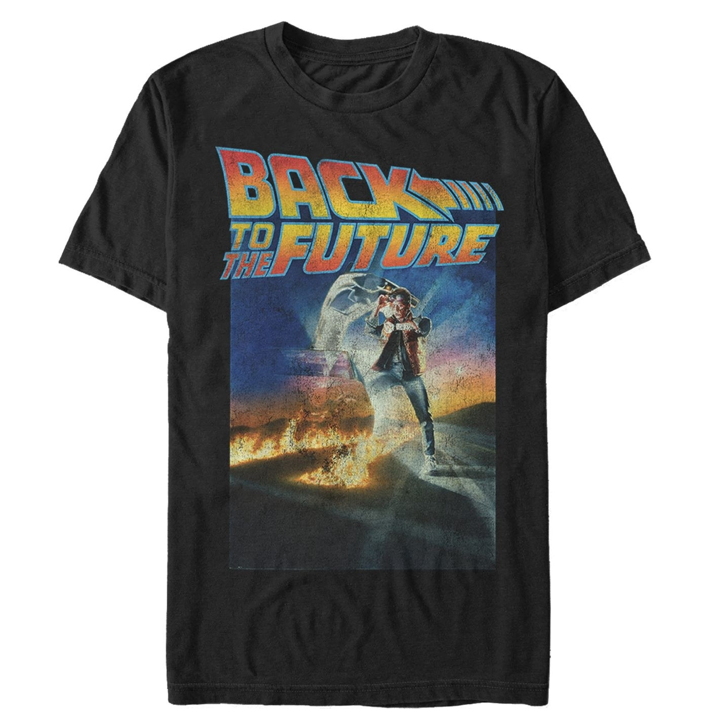 Black, orange and blue shirt with marty mcfly on the front