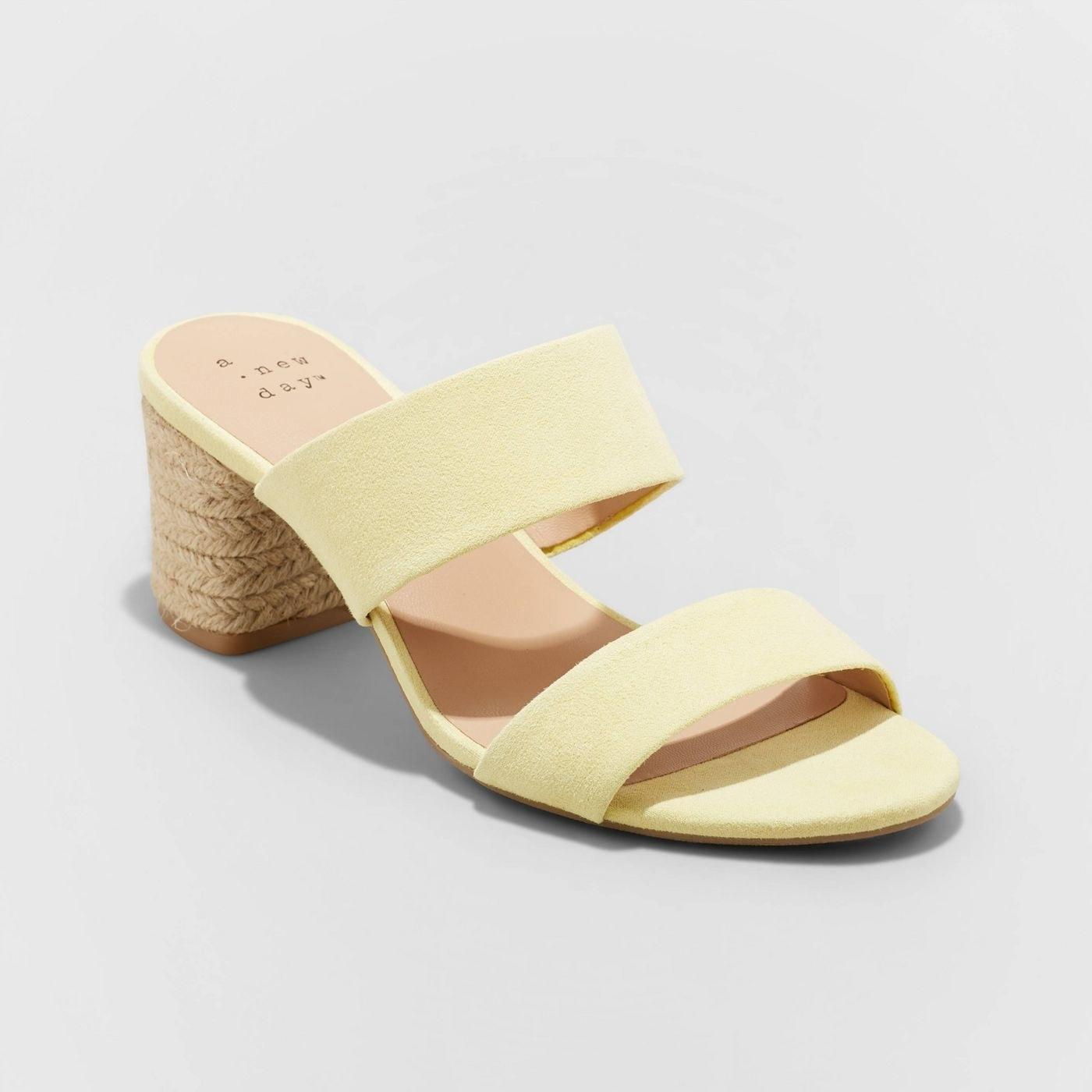 Yellow pastel block heels with brown heels